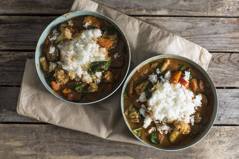Two bowls of Garam Masala vegetable curry dish with jasmine rice - STBF00305