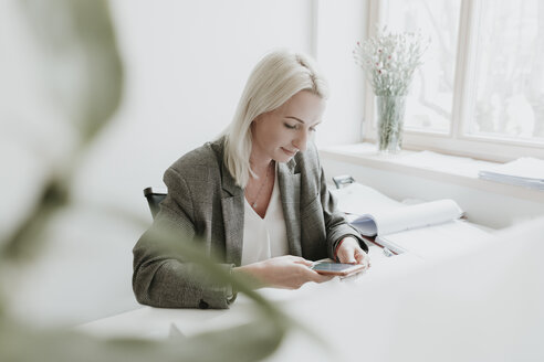 Young woman using cell phone at desk in office - AHSF00300