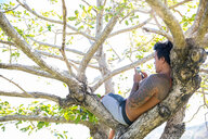 Man using smartphone on tree, Pagudpud, Ilocos Norte, Philippines - CUF51025