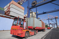 Lorry hauling cargo containers at commercial dock - JUIF01014