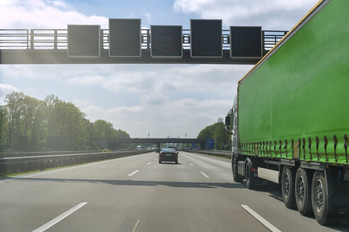 Green truck on motorway - FRF00835