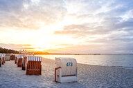 Germany, Mecklenburg-Western Pomerania, Ruegen, Binz, beach at sunset - PUF01435