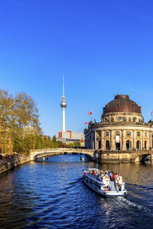 Germany, Berlin, Bode Museum, Berlin TV Tower and ship on Spree - PUF01443