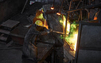 Industry, worker at furnace during melting copper, wearing a fire proximity suit - CVF01211