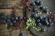 Bowl of blueberries and rosehip, blueberry blossoms on wood - ASF06413