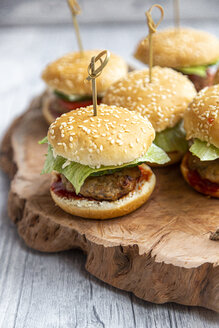 Mini-Burger with mincemeat, salad, cucumber and tomato on wooden tray - SARF04277