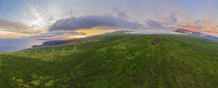USA, Hawaii, Maui, south coast, Haleakala volcano, Luala'ilua Hills and wind turbines at sunset - FOF10756