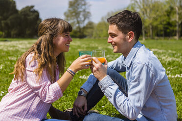 Young couple toastin with fruit juice in a park - MGIF00456