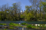 Freising cathedral and river Isar, Freising, Bavaria, Germany - LBF02565