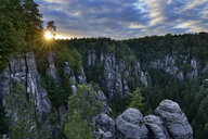 Germany, Saxony, Elbe Sandstone Mountains, Bastei area, Raaber Kessel at sunset - RUEF02190
