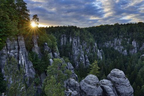 Germany, Saxony, Elbe Sandstone Mountains, Bastei area, Raaber Kessel at sunset - RUEF02190