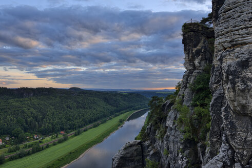 Germany, Saxony, Elbe Sandstone Mountains, view from the Bastei to the Elbe River and Elbe Valley at dusk - RUEF02193