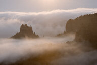 Germany, Saxony, Elbe Sandstone Mountains, view from Gleitmannshorn to sandstone rocks with fog at sunrise - RUEF02220