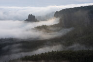 Germany, Saxony, Elbe Sandstone Mountains, view from Gleitmannshorn to sandstone rocks with fog at sunrise - RUEF02223
