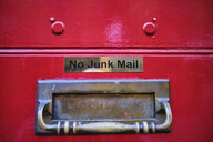 UK, London, mailbox with writing 'No Junk Mail' - MRF01956