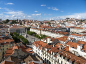 View over the city with Rossio Square and Dom Pedro IV monument, Lisbon, Portugal - AMF07009