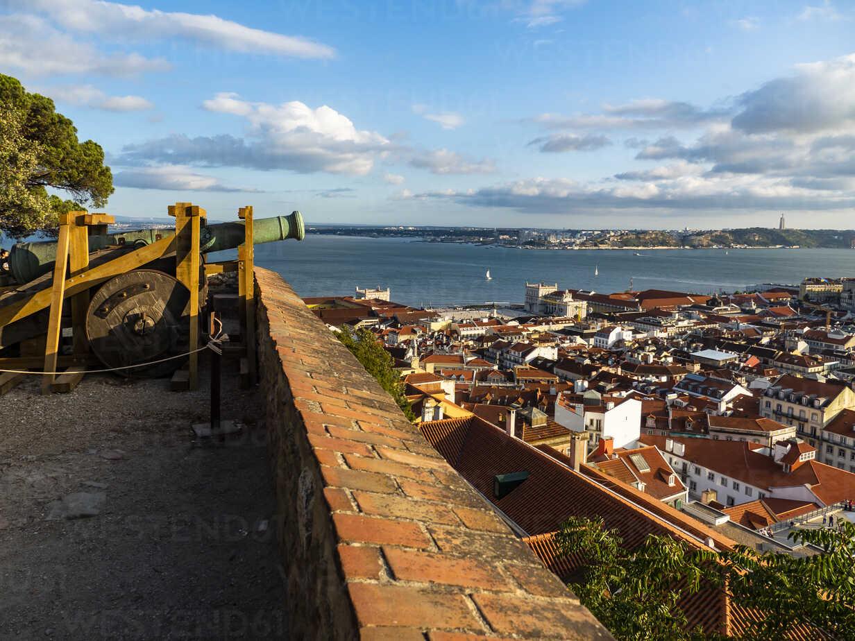 View Over The City With Tejo River From Miradouro Da Nossa Senhora Do Monte Lisbon Portugal