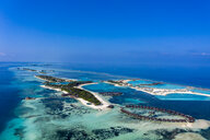 Aerial view over Olhuveli and Bodufinolhu with Fun Island Resort, South Male Atoll, Maldives - AMF07027