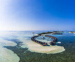 Aerial view over Olhuveli with water bungalows, South Male Atoll, Maldives - AMF07030