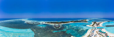 Aerial view over Olhuveli and Bodufinolhu with Fun Island Resort, South Male Atoll, Maldives - AMF07033