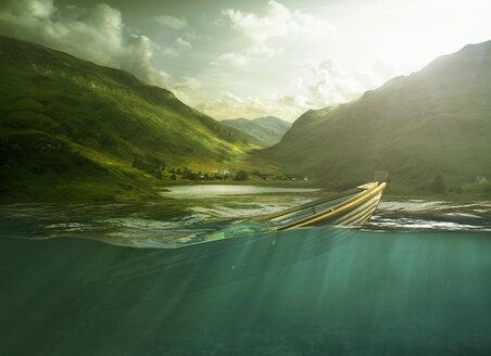 Rowboat sinking in lake near mountains - BLEF03765
