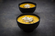 sweet potato soup  with mango, curcuma, coconut milk and black sesame - LVF08046