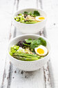 Two bowls of Ramen soup with egg, green asparagus, noodles, shitake mushroom and spring onions - LVF08049