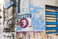 Coffee shop sign on facade, Havana, Cuba - HSIF00625