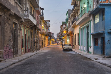 View to street at twilight, Havana, Cuba - HSIF00637