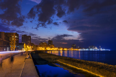 View to lighted Malecon, Havana, Cuba - HSIF00643