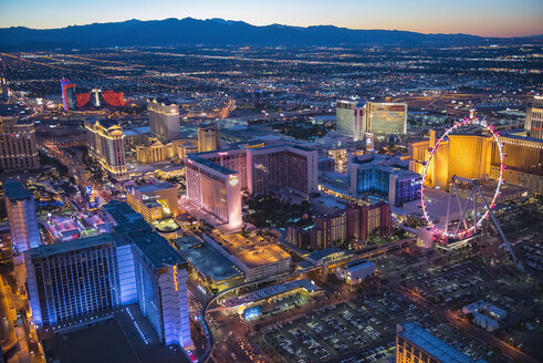 Aerial view of illuminated cityscape, Las Vegas, Nevada, United States, - BLEF04101