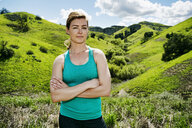 Serious Caucasian woman posing on hill - BLEF04284