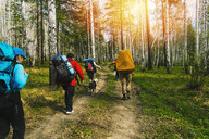 Caucasian friends backpacking with dog on forest path - BLEF04404