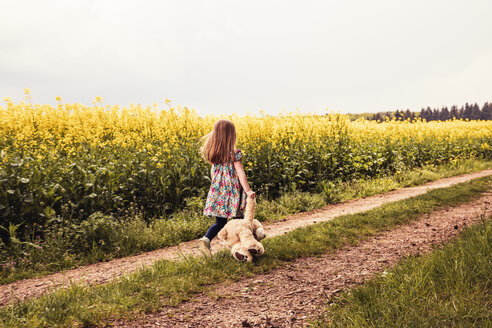 Girl walking alone with teddy and backpack on a field way - SEBF00100