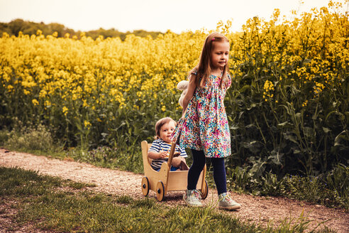Girl with her brother in a doll buggy on a field way - SEBF00106