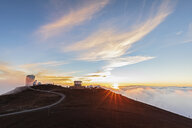 View from Red Hill summit to Haleakala Observatory at sunset, Maui, Hawaii, USA - FOF10783