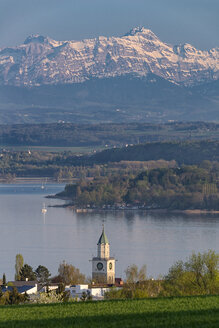 Minster tower and Alps, Ueberlingen, Lake Constance, Germany - SH02185