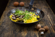 Omelette with champignon and fresh cress in pan - LVF08058