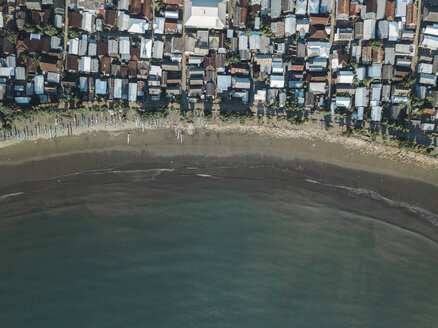 Indonesia, Sumbawa Island, Maluk, Aerial view of coastal town, beach - KNTF02772