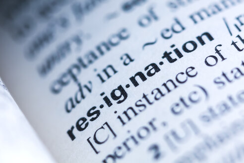 Keyword in a dictionary, resignation - TCF06081