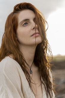 Portrait of redheaded young woman with nose piercing - AFVF02995