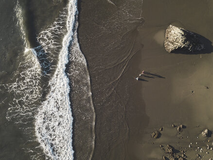 Family at the beach, Aerial view, Maluk, Sumbawa, Indonesia - KNTF02797
