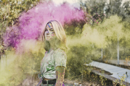 Girl with Holi powder colours, Germany - VGPF00023