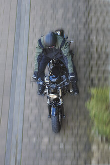 Motorcyclist on Harley Davidson Sportster 48, from above - BSCF00601