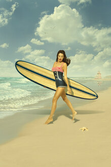 Caucasian woman running on beach carrying surfboard - BLEF04766