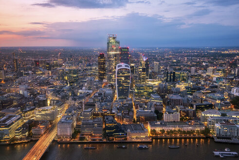 Aerial view of City of London at sunset, United Kingdom - DHCF00195