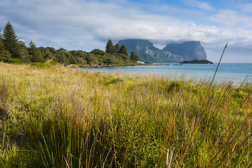 View of Mount Lidgbird and Mount Gower in the background on Lord Howe Island, New South Wales, Australia - RUNF02171