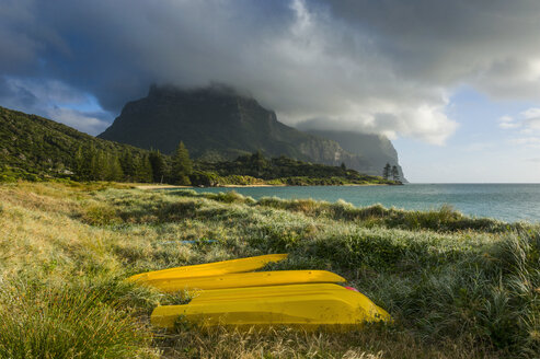 Canoes before Mount Lidgbird and Mount Gower on Lord Howe Island, New South Wales, Australia - RUNF02177