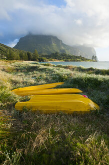 Canoes before Mount Lidgbird and Mount Gower on Lord Howe Island, New South Wales, Australia - RUNF02180