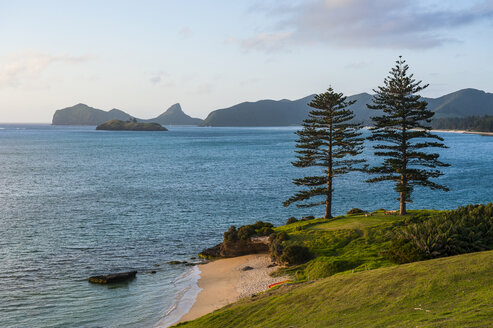 Beach on a golf course overlooking Lord Howe Island, New South Wales, Australia - RUNF02183